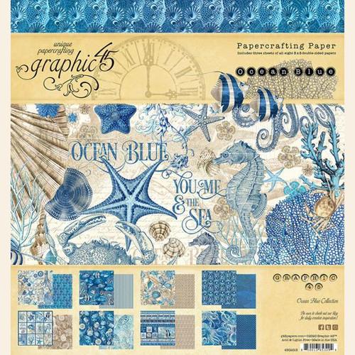 """Graphic 45 Ocean Blue 8"""" x 8"""" Paper Pad"""