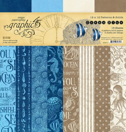Graphic 45 Ocean Blue 12 x 12 Patterns and Solids Paper Pad