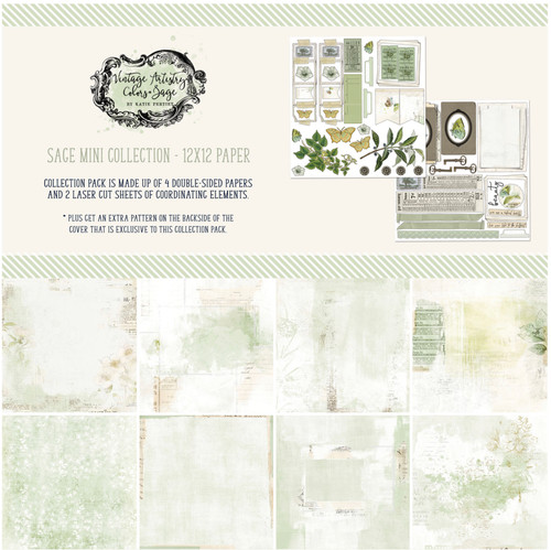 49 and Market Vintage Artistry Sage 12 x 12 Collection Pack