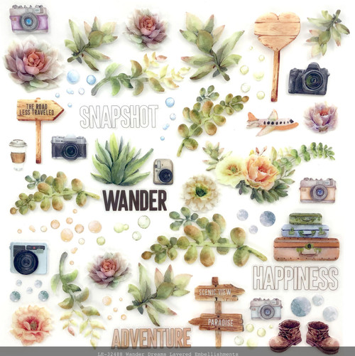 49 and Market Wander 12 x 12 Layered Embellishments