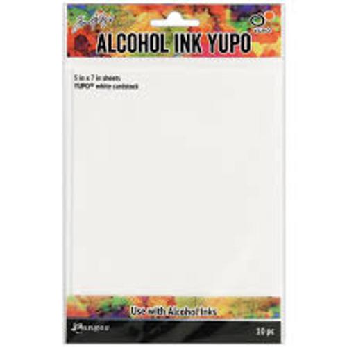 Ranger Alcohol Ink Yupo Paper White Cardstock  5 x 7 10 Pack