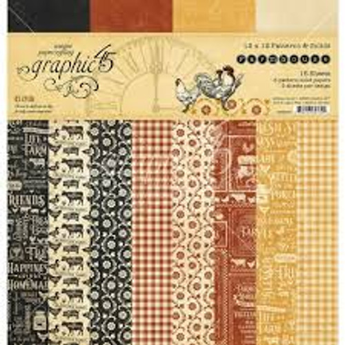 """Graphic 45 Farmhouse 12"""" x 12"""" Patterns and Solids"""
