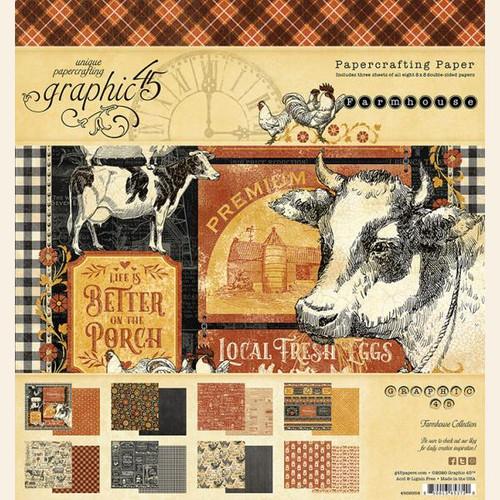 """Graphic 45 Farmhouse 8"""" x 8"""" Paper Pad"""