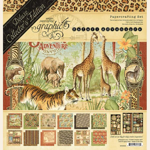 "Graphic 45 Safari Adventure Deluxe Collectors Edition 12"" x 12"""