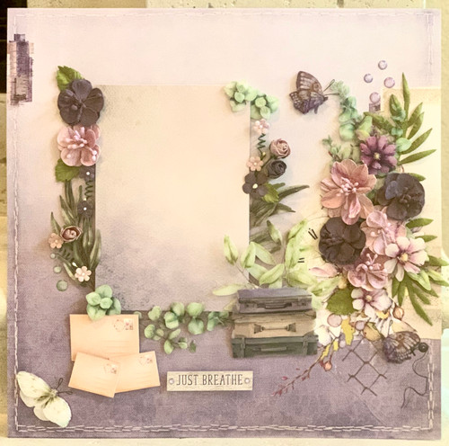 "Kreative Kreations ""Just Breathe"" Lavender 2-Page Layout feat. 49 & Market (Virtual Class 1)"
