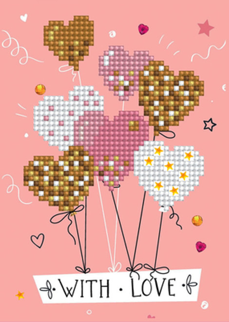 Diamond Dotz With Love Balloons Greeting Card