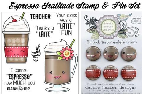 Darcie's Heart & Home Bundle Espresso Gratitude Stamp and Tin Pin Set