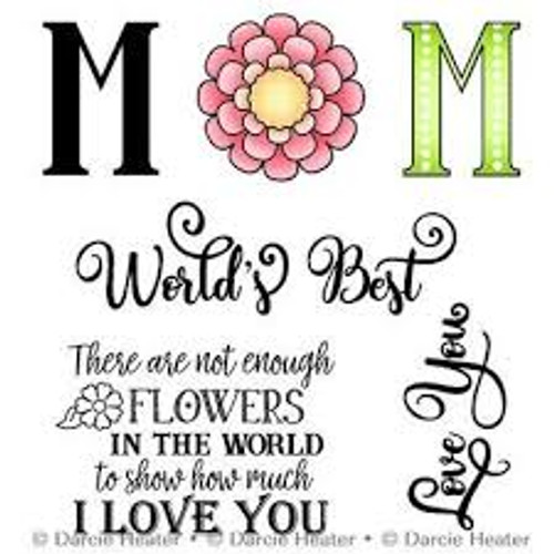 Darcie's Heart & Home World's Best Mom Cling Mounted Rubber Stamp Set