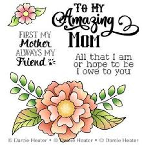 Darcie's Heart & Home Flower Spray  Cling Mounted Rubber Stamp Set