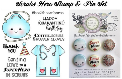 Darcie's Heart & Home Bundle Scrubs Hero Stamp and Tin Pin Set