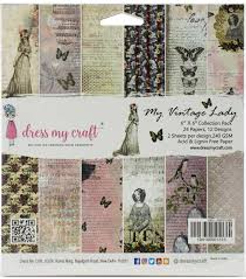 Dress My Craft My Vintage Lady  6 x 6 Collection Paper Pack