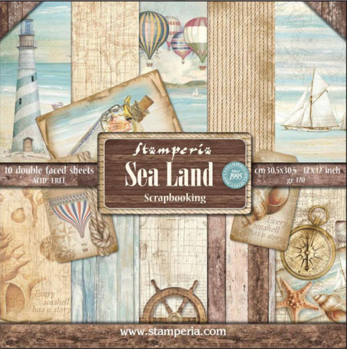 "Stamperia Sea Land Paper Pack 12"" x 12"""