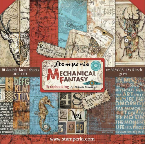 """Stamperia Mechanical Fantasy Paper Pack 12"""" x 12"""""""