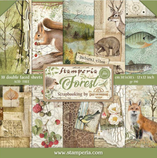 """Stamperia Forest Paper Pack 12"""" x 12"""" Paper Collection"""