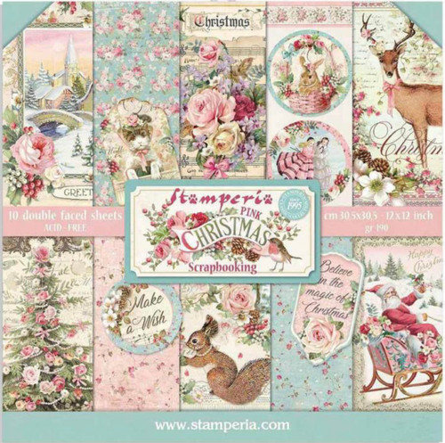 Stamperia Pink Christmas Paper Pack 12 x 12