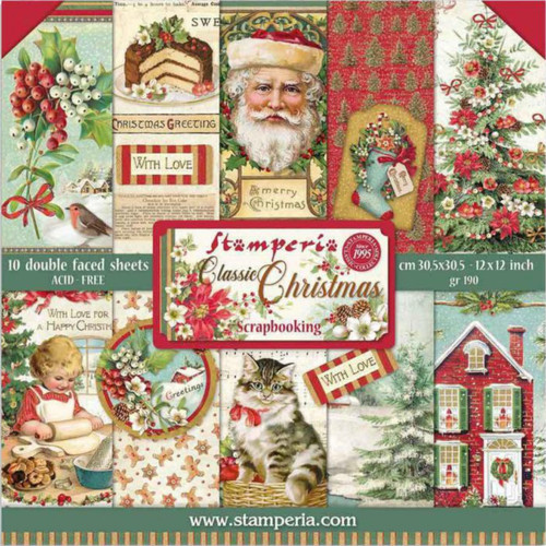 "Stamperia Classic Christmas 12"" x 12"" Paper Pack"