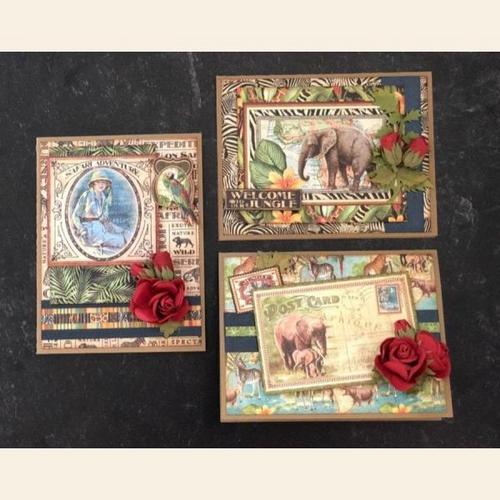 Graphic 45 2020 Safari Adventure Interactive Card Set Monthly Card Kit Volume 7