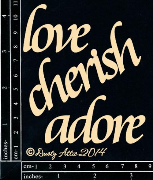 Dusty Attic Cherish Adore Chipboard