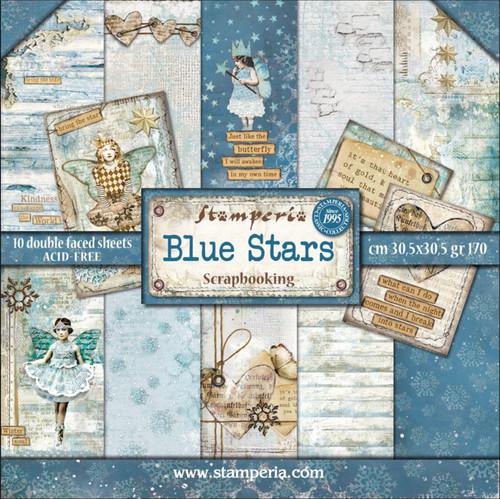 """Stamperia Blue Stars  Paper Pack 12"""" x 12"""""""
