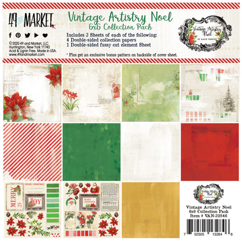 49 and Market Vintage Artistry Noel 6 x 6 Collection Pack