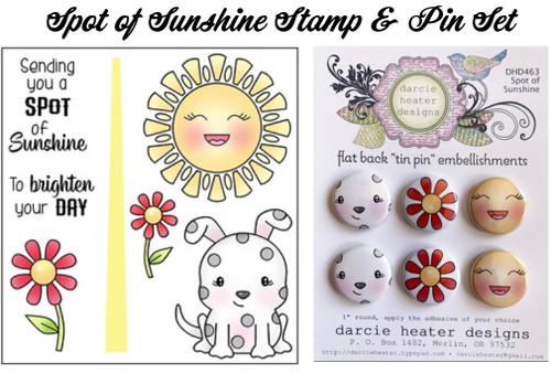 Darcie's Heart & Home Bundle Spot of Sunshine  Clear Stamp and Tin Pin Set