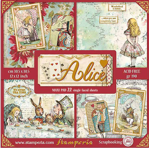 """Stamperia Alice Gold 12"""" x 12""""  22 Single-Faced Sheets"""