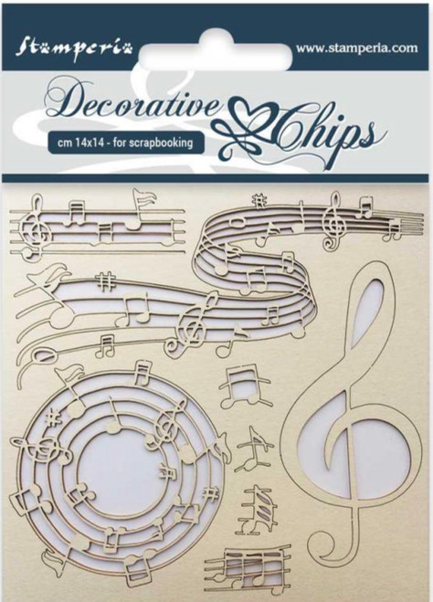 Stamperia Decorative Chips Music