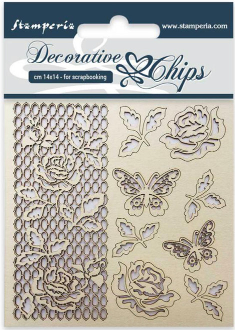Stamperia Decorative Chips Rose and Butterfly