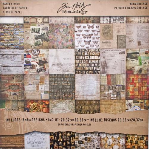 Tim Holtz Idea-ology 8 x 8 Paper Pad Paper Stash Collage