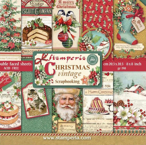 "Stamperia Christmas Vintage Paper Pack 8"" x 8"""