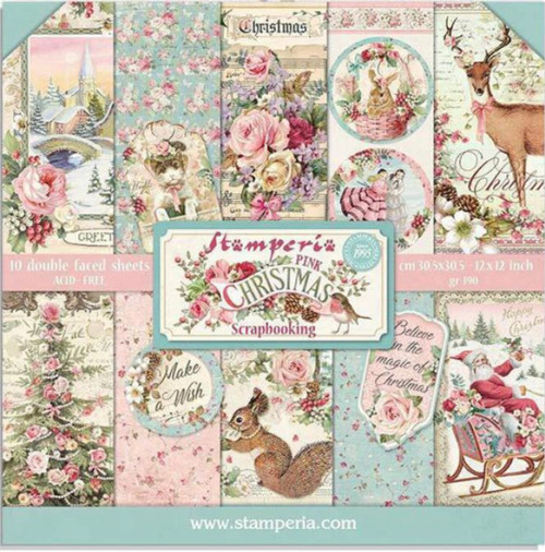 Stamperia Pink Christmas Paper Pack 8 x 8