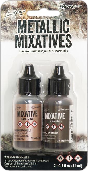 Tim Holtz Alcohol Ink Metallic Mixative Rose Gold & Gunmetal 0.5 oz