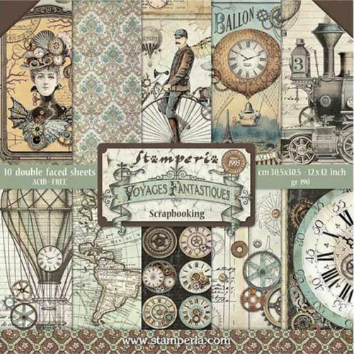 """Stamperia Voyages Fantastiques 12"""" x 12"""" Paper Pack"""