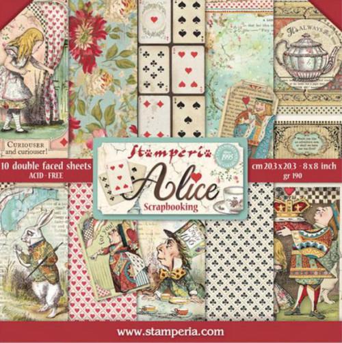 "Stamperia Alice in Wonderland Paper Pack 8"" x 8"""