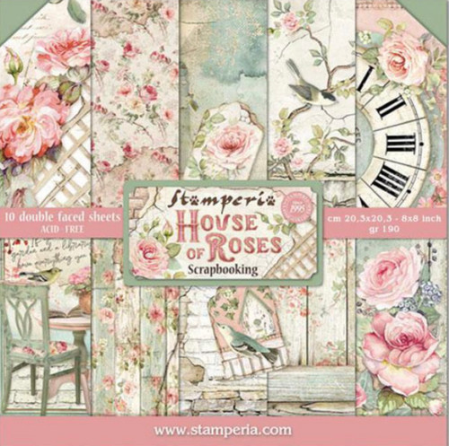 """Stamperia House of Roses Paper Pack 8"""" x 8"""""""