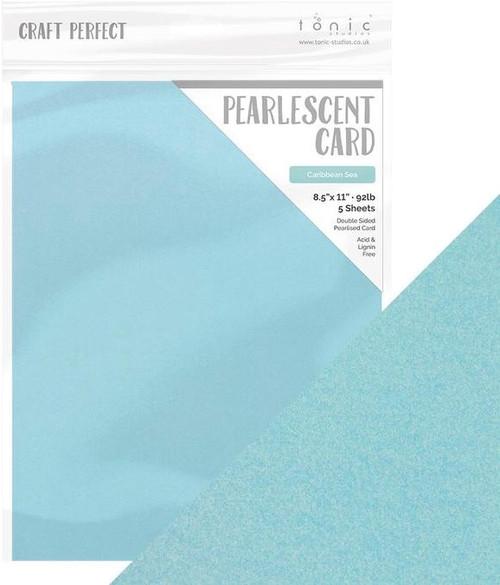 Tonic Craft Perfect Pearlescent Card Caribbean Sea  8.5 x 11