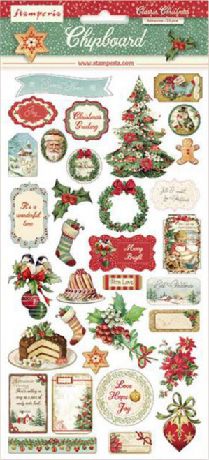 Stamperia Classic Christmas Chipboard