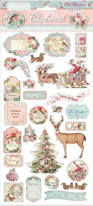 Stamperia Pink Christmas Chipboard