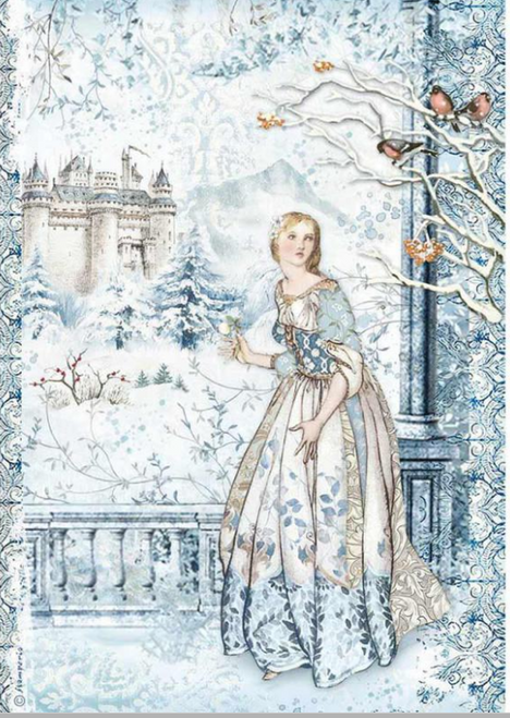 Stamperia A4 Rice Paper Fairy in the Snow