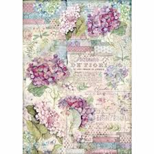 Stamperia  A3 Rice Paper Hortensia