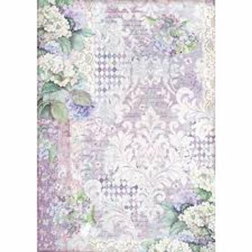 Stamperia  A3 Rice Paper Hortensia Wallpaper