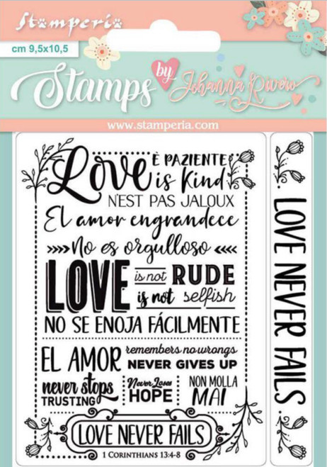 Stamperia Acrylic Stamp Set Love Never Fails by Johanna Rivero