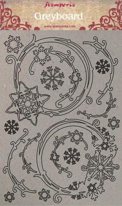 Stamperia A4 Greyboard Snowflakes and Garlands