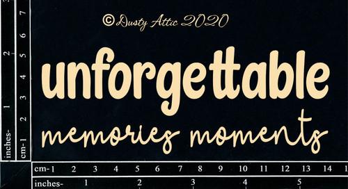 Dusty Attic Unforgettable Memories/Moments Chipboard