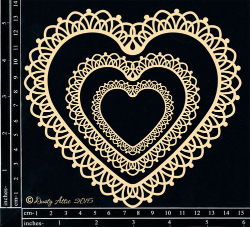 Dusty Attic Lacey Heart Frames Chipboard