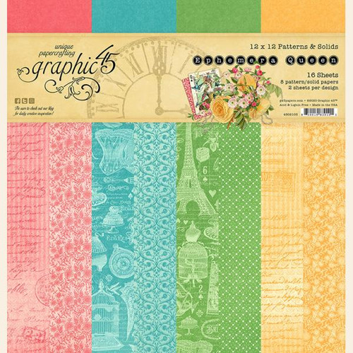 Graphic 45 Ephemera Queen 12 x 12 Patterns and Solids