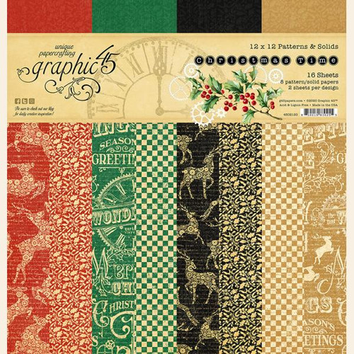 Graphic 45 Christmas Time  12 x 12 Patterns and Solids