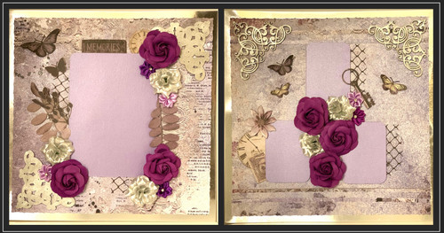 """Kreative Kreations """"Lavender Memories"""" 2-Page Layout Including Nuvo Sparkle Spray"""