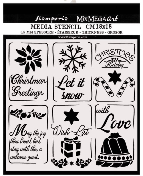Stamperia Thick Christmas Tags Stencil