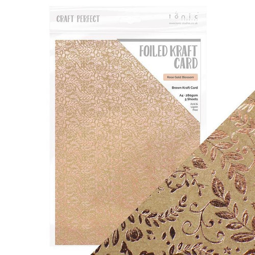 Tonic Craft Perfect Foiled Kraft Card Rose Gold Blossom
